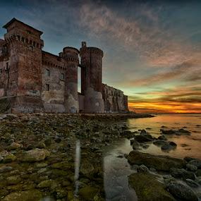 Santa Severa Castle by Eric Niko - Buildings & Architecture Public & Historical ( water, santa severa, dawn, waterscape, rome, sea, castle, sunrise, rocks,  )