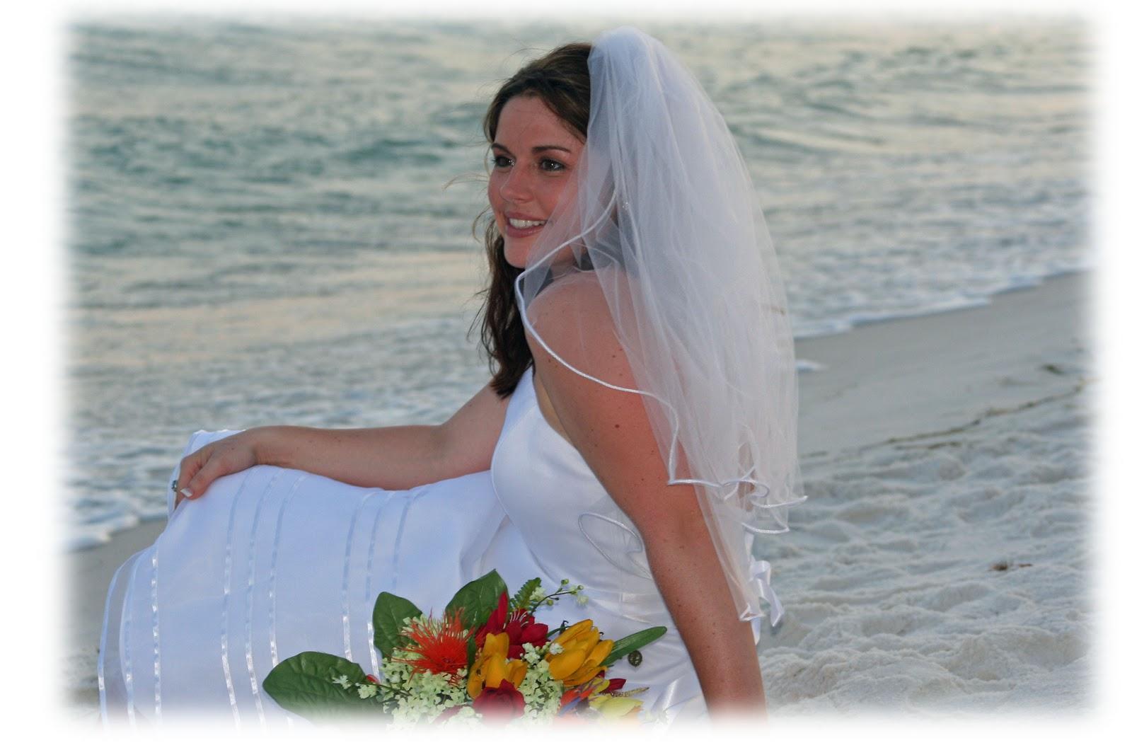 beach wedding bare feet