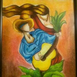 Guitar by Sanaz Shahraki - Painting All Painting ( love, sanaz shahraki, colorpencil, guitar )