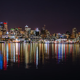 Emerald City by Brendan McCullough - City,  Street & Park  Skylines ( seattle, night, landscape )