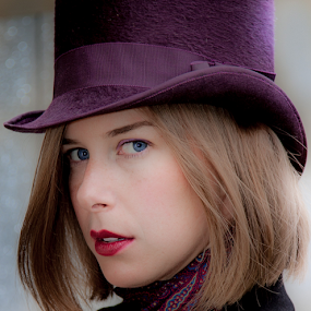 Purple Hat by John Walton - People Portraits of Women ( #steam punk, #heritagefocus, #hat, #purple hat )