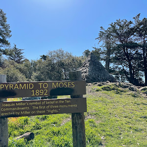 PYRAMID TO MOSES 1892 Joaquin Miller's symbol of belief in the Ten Commandments. The first of three monuments erected by Miller on these