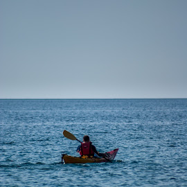 Sea Kayaker by Ivan Bušić - Sports & Fitness Other Sports ( training, blue sea, peaceful, kayaker, sports, croatia, sea, relaxation, kayak, dalmatia, lonely, sea kayak, man )