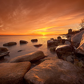 Sunrise @ The Rocks by Jamie Link - Landscapes Sunsets & Sunrises ( water, clouds, grass, camera, beautiful, art, lake, drama, photo, sun, print, photos, pics, sky, red, blue, photographer, dramatic, scenery, rocks, fine, river )