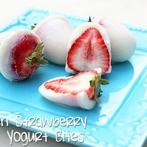 Frozen Strawberry Vanilla Yogurt Bites