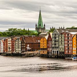 Trondheim by Richard Michael Lingo - City,  Street & Park  Historic Districts ( historic district, city, waterfront, river, trondheim )