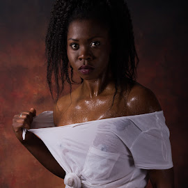 Ripped shirt by Svend Olsen - Novices Only Portraits & People ( sexy, lingerie, woman, white, wet, cute, black, shirt )