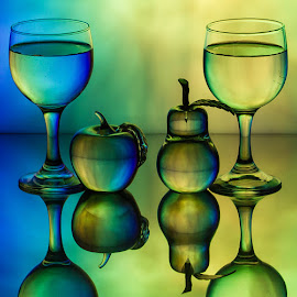 by Lisa Hendrix - Artistic Objects Glass ( inversion, fruit, reflection, colorful, colors, green, yellow, color, blue, apple, artistic, glass, wine glasses, objects, pear )