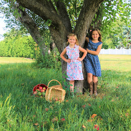 Country Apples by Jodi Zimmer - Babies & Children Children Candids ( sisters, tree, children, apples, country )