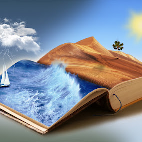 by Gusti Yogiswara - Digital Art Places ( thunder, books, desert, ocean, boat )