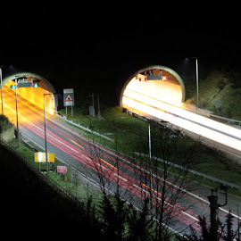 Hindhead Tunnel view 2 by Duncan Bryant - Abstract Light Painting ( car, canon, eos, light painting, 7d, light trails,  )