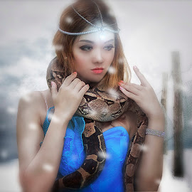 Girl with Snake by Ka Seng - Digital Art People ( snake, girl, snow, composite )