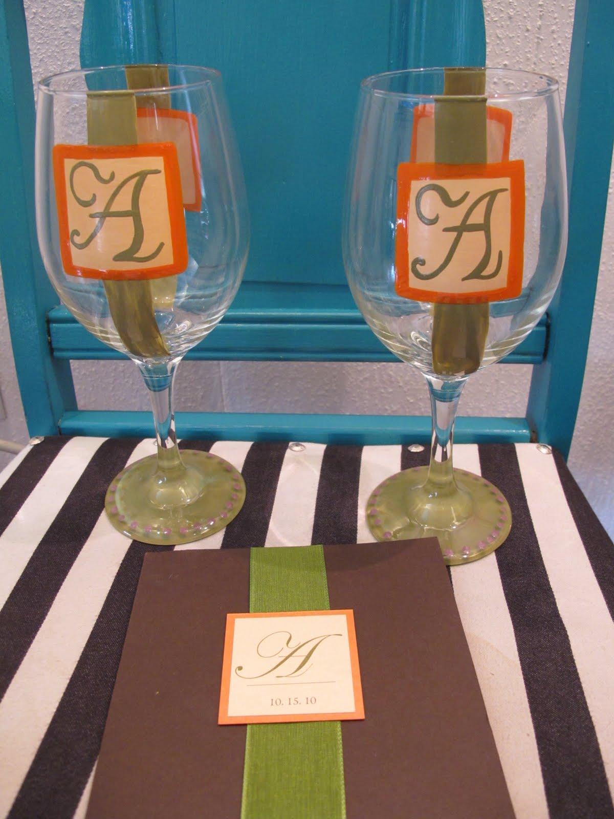 painted wedding glasses, chiffon wedding dresses for
