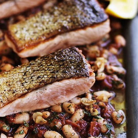 Crispy Skin Salmon With Braised White Beans