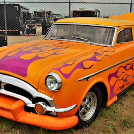 Ribs and Rods by Benito Flores Jr - Transportation Automobiles ( ribsandrods, temple, carshow, texas, flames )