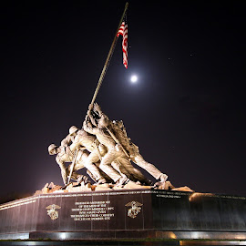 Marine Corps Memorial by Talbot Brooks - Buildings & Architecture Statues & Monuments ( dc, washington, iwo jima memorial, iwo jima, marine corps memorial, semper fi, night, washington dc, marine corps, usmc,  )