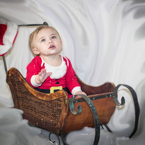 by April Sadler - Public Holidays Christmas ( #child #sleigh #snow #sants hat )