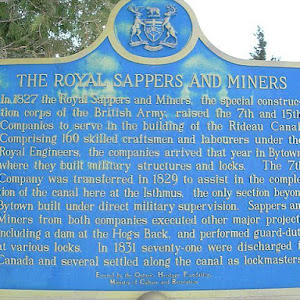 In 1827 the Royal Sappers and Miners, the special construction corps of the British Army, raised the 7th and 15th Companies to serve in the building of the Rideau Canal. Comprising 160 skilled ...