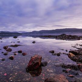 Low Tide by Espen Rune Grimseid - Landscapes Waterscapes ( clouds, bergen, canon, heaven, fanafjorden, seascape, landscape, norway, fjord, sky, nature, shoreline, dark, low tide, light )