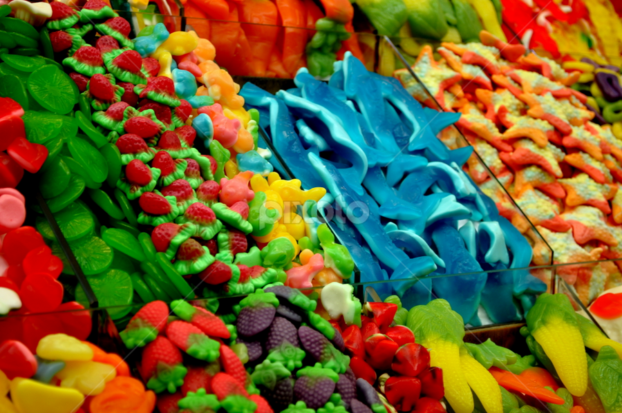 Colorful Candy by Wendy Taylor - Food & Drink Eating ( candy, blue, green, star, lime, shark, strawberry )