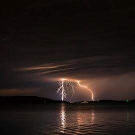 Distant lightning by Jernej Lipovec - Landscapes Weather ( exposure, waerscape, adriatic, thunderstorm, croatia, sea, storm, landscape, sony, lightning, mediterranean, šibenik, weather, night )