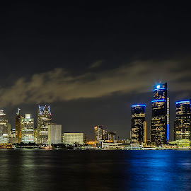 Detroit Skyline by Tammy Scott - Buildings & Architecture Office Buildings & Hotels ( cityscapes, buildings, city lights, architecture, waterfront, hotels )
