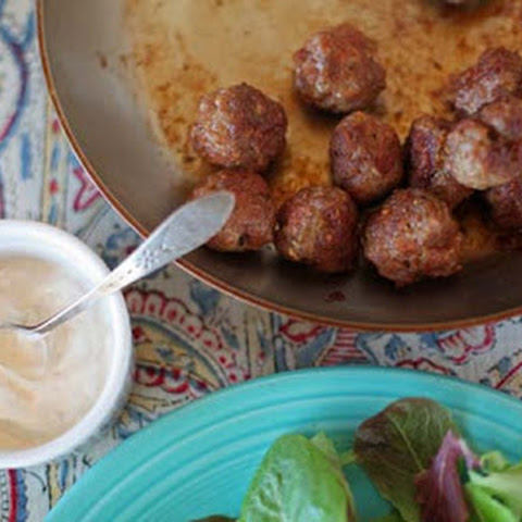 Indian Spiced Meatballs with Yogurt Sauce and Chutney