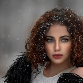 When it's snowing by Cvetka Zavernik - People Portraits of Women ( snow, beautiful eyes, freckles, hair, women )