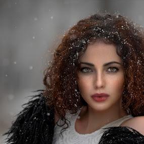 When it's snowing by Cvetka Zavernik - People Portraits of Women ( snow, beautiful eyes, freckles, hair, women )