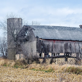 Barn Falling Apart Outside of Hartford by Jason Lockhart - Buildings & Architecture Decaying & Abandoned ( wisconsin, hartford, old barn, cold afternoon, hwy 60 )