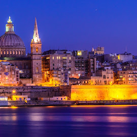 Valeta Blue Hour by Luis Silva - City,  Street & Park  Historic Districts ( malta, long exposure, tripod, golden hour, valeta )