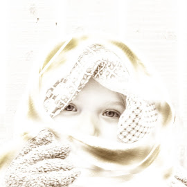 Abstract mystery by Pam Satterfield Manning - Babies & Children Child Portraits ( hand, abstract, child, vertical, fence, girl, pattern, white, child portrait, glove, veil, bokeh, human, eyes )