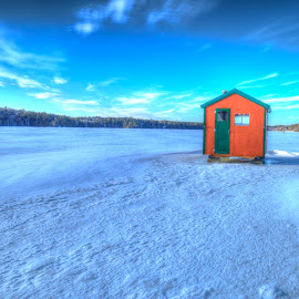 Long Pond by John Vreeland - Digital Art Places ( maine, shack, ice, ice fishing, fishing )