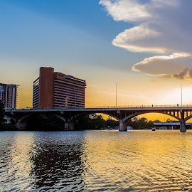 on the river by Kevin Smith - City,  Street & Park  Vistas ( river bridge sunset )