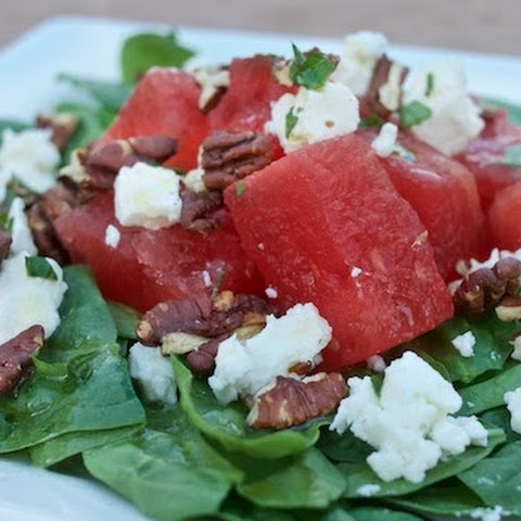 Spinach & Watermelon Salad With Pecan Lime Vinaigrette
