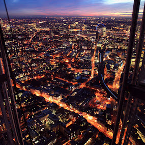 View from the top of The Shard 02 by Bill Green - City,  Street & Park  Skylines ( lights, london, the view from the shard of glass, the shard of glass, sunset, opening day, city )