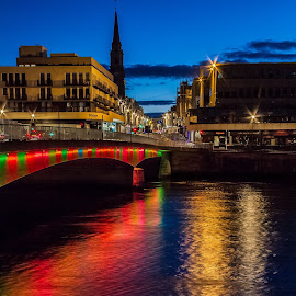 Inverness waking up to a new dawn .  by Gordon Bain - City,  Street & Park  Street Scenes ( scotland, morning light, morning cityscape, before dawn, highland capital ., river ness, inverness )