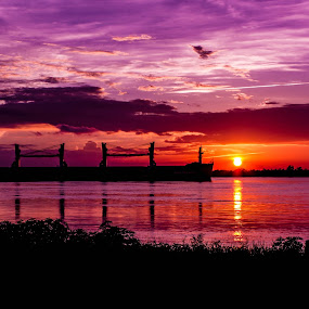 Purple Passion by Victoria Evans - Transportation Boats ( export, purple, sunset, ship, mississippi river, louisiana, import, river,  )