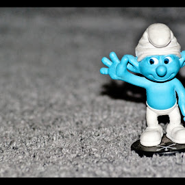 smurf by Kathleen Stefanski - Artistic Objects Toys ( hello, blue, smurf, happy, wave, object )