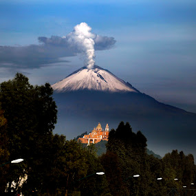 Smoking Volcano and Church by Alfredo Garciaferro Macchia - Landscapes Mountains & Hills ( volcano, church, popocatepetl, smoking volcano )