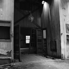 by Thomas Shaw - Buildings & Architecture Decaying & Abandoned ( window, wood, bench, floor, black and white, door, house, light fixture, dirt, light, decaying, abandoned,  )