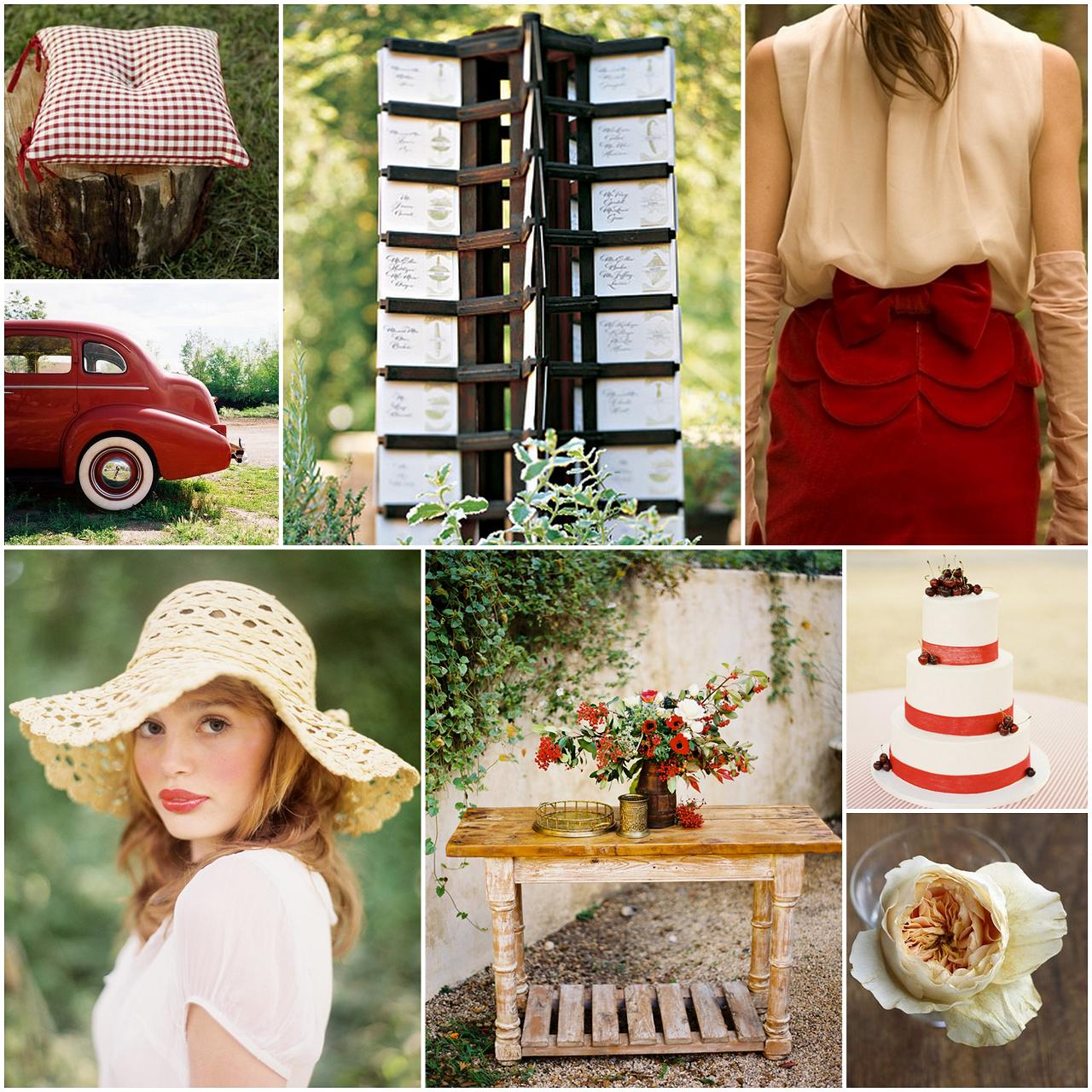red, ivory, warm brown