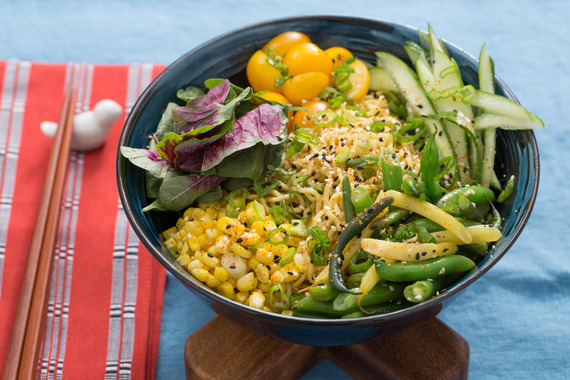 blue recipe apron ramen Summer Ramen Noodles Leaves Vegetable Amaranth with Ramen & Fresh Cool