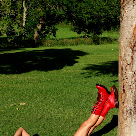 Red Boots by Quel Mirhan - People Fashion ( red, grass, green, trees, skin, boots )