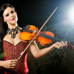 Violinist by Gian Mark Quidasol - People Portraits of Women ( model, natalie kandis, women )