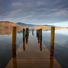 Submerged by Martin West - Landscapes Mountains & Hills ( high water, jetty, ashness, derwent water, lake district )