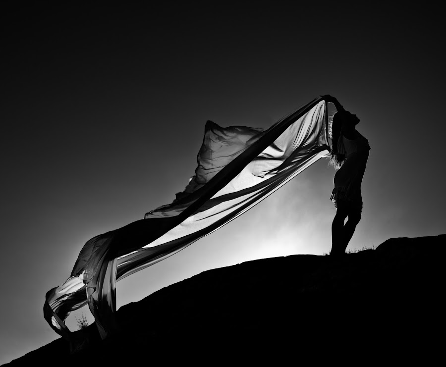 Sunset Angel by Ragnar Hermandrud - People Fine Art ( hasselblad, wind, black and white, black and white collection, spring, norway,  )