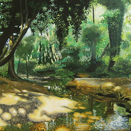 Magic Place by Christianna Cassisa - Painting All Painting ( nature art, art, home decor, acrylic, woodland, imagination )