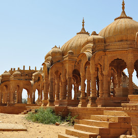 History vs. Technology by Paras Bhalla - Buildings & Architecture Statues & Monuments ( history, tomb, sky, desert, sandstone, arid, daylight )