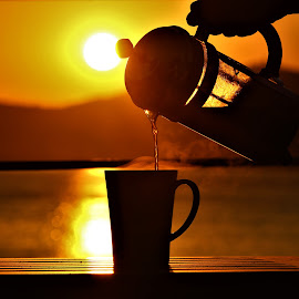 Coffee and Sunset by Mrsoe Thuaung - Food & Drink Alcohol & Drinks ( sunset, drink, coffee, coffee cup, beauty in nature )